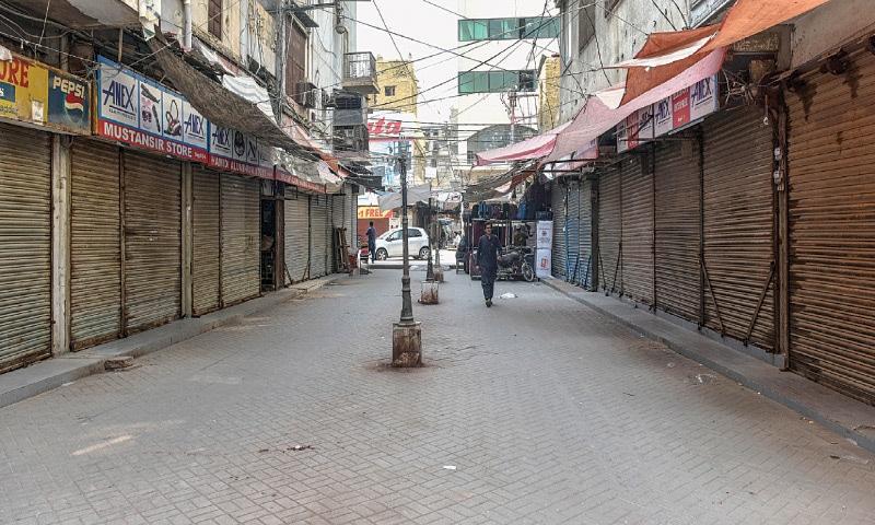 Shops in Saddar's Bohri Bazaar remain closed on Friday.—White Star