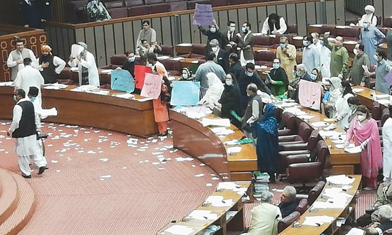 ISLAMABAD: Opposition members chant slogans during the National Assembly session on Friday.—INP