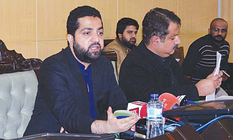 Home Minister Mir Ziaullah Langove addressing the press conference.—PPI/File
