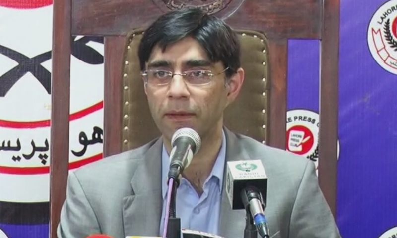 Special Assistant to the Prime Minister on National Security Moeed Yusuf speaks to the media on Saturday. — DawnNewsTV