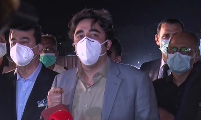 PPP Chairperson Bilawal Bhutto-Zardari speaks to reporters in Karachi on Saturday. — DawnNewsTV