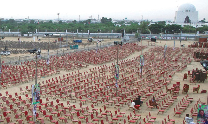 The ground has been prepared on Saturday in the shadow of the Quaid's mazar for the PPP-PDM power show today.—Online
