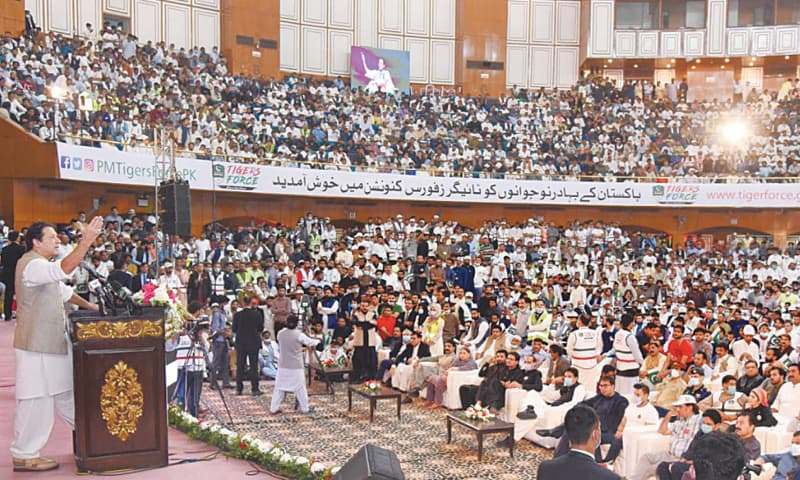 ISLAMABAD: Prime Minister Imran Khan addressing the Tiger Force convention on Saturday.—White Star