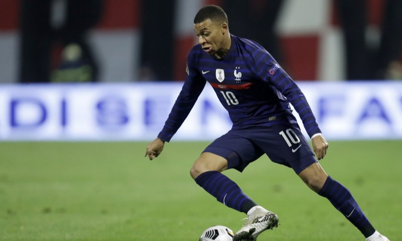 France's Kylian Mbappe controls the ball during the UEFA Nations League soccer match between Croatia and France at Maksimir Stadium in Zagreb, Croatia on Oct 14. — AP/File