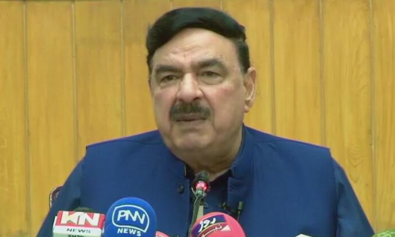 Minister for Railways Sheikh Rashid addresses the media in Lahore on Saturday. — DawnNewsTV