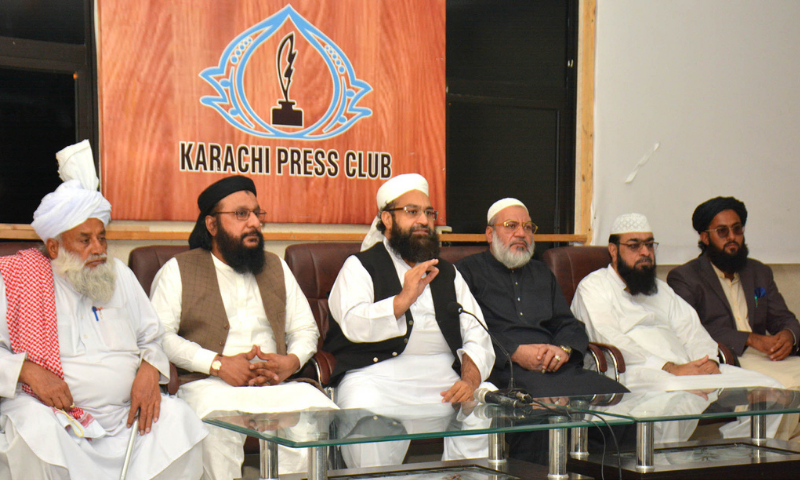 Prime Minister's Special Assistant on Religious Affairs and chairman Pakistan Ulema Council Hafiz Muhammad Tahir Mehmood Ashrafi addresses a press conference in Karachi on Saturday. — PID