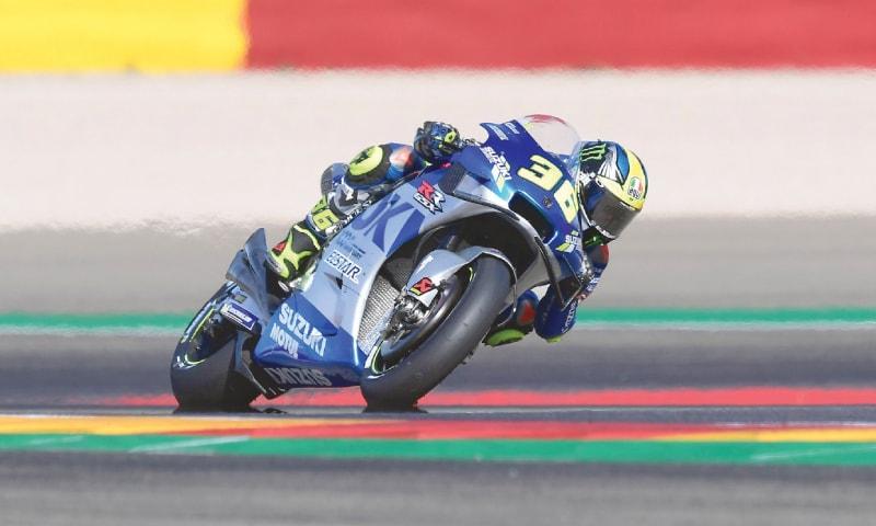 SUZUKI Ecstar's Joan Mir rides during the Aragon MotoGP at the MotorLand circuit on Sunday.—AFP