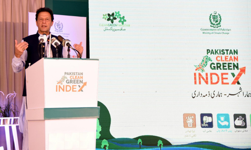 Prime Minister Imran Khan speaks at the encouragement award ceremony of 'Clean Green Index of 19 Competing Cities of Punjab and Khyber Pakhtunkhwa'. — PID