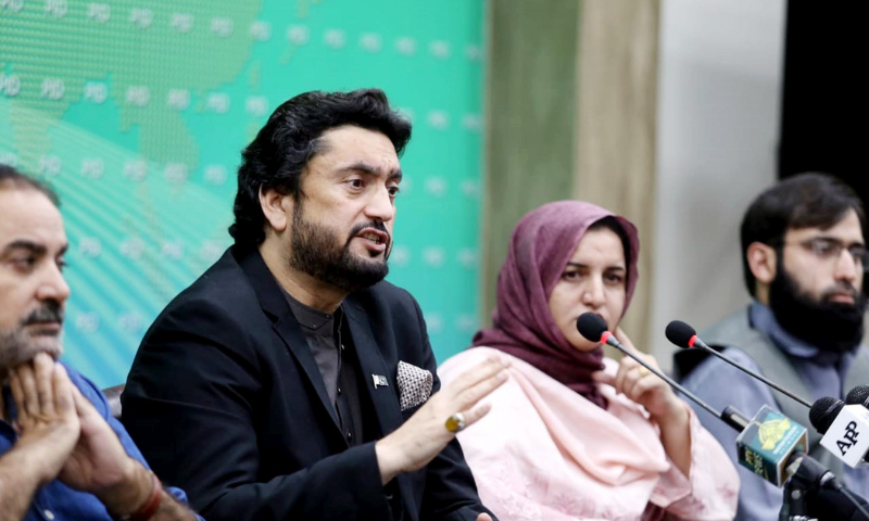 Chairman of Parliamentary Committee on Kashmir Shehryar Khan Afridi addresses a press conference on Monday. — PID