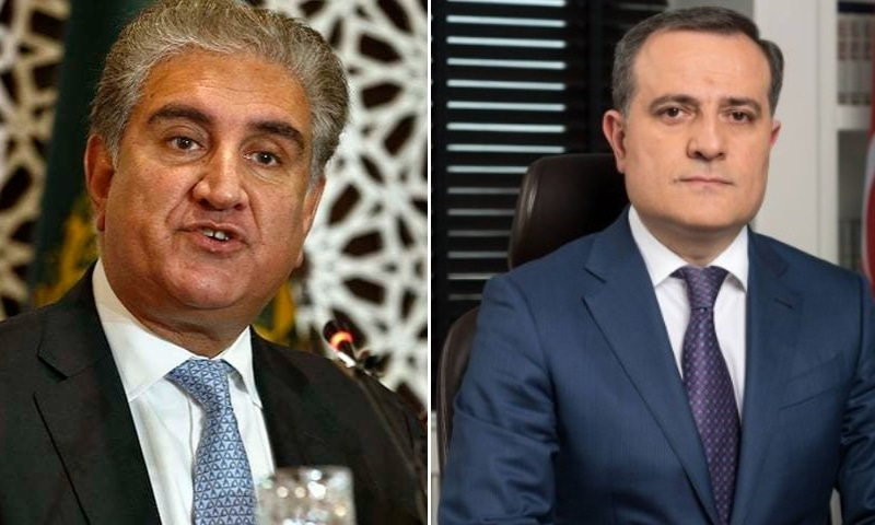 Foreign Minister Shah Mahmood Qureshi (left) had a telephone call with his Azerbaijani counterpart, Jeyhun Bayramov, on Tuesday. — Photo courtesy AP/Twitter