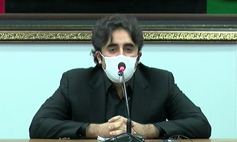 PPP Chairperson Bilawal Bhutto-Zardari addresses a press conference in Karachi on Tuesday. — DawnNewsTV