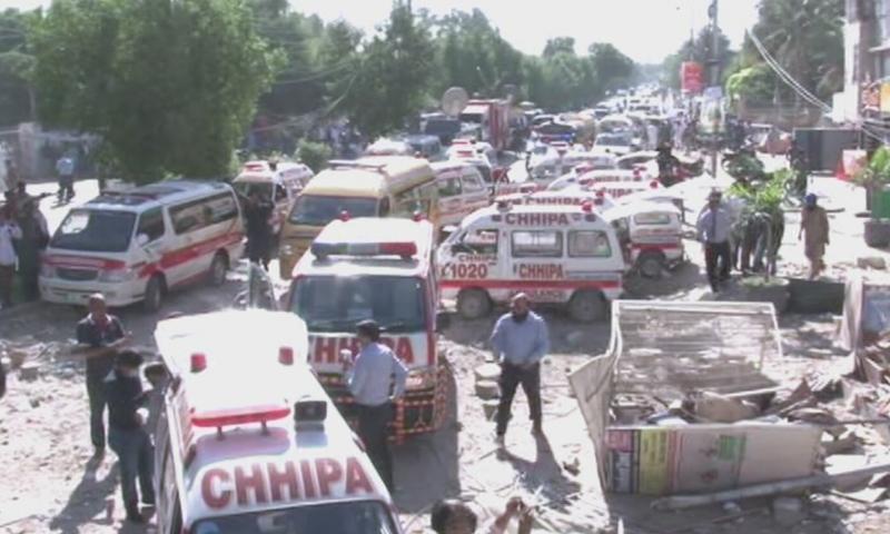 دھماکے کے بعد ریسکیو ٹیمیں جائے وقوع پر موجود ہیں—اسکرین شاٹ