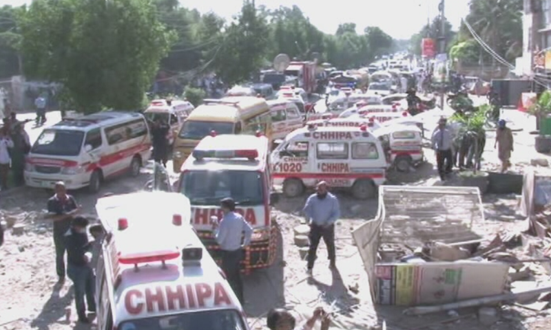 Ambulances are seen at the site of the blast in Karachi's Gulshan-i-Iqbal area. — DawnNewsTV