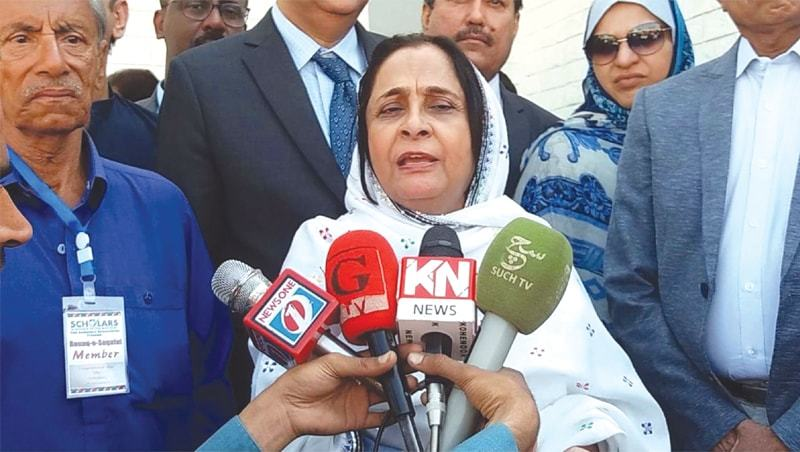 In this Feb file photo, Sindh Minister for Health Azra Pechuho speaks to the media in Larkana. — INP