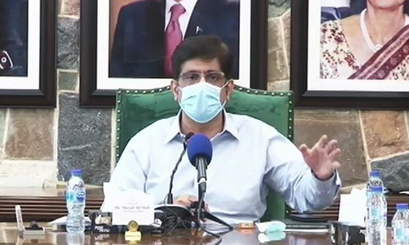 Sindh Chief Minister Syed Murad Ali Shah addresses the media on Tuesday. — DawnNewsTV