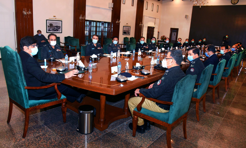 Sindh Chief Minister Murad Ali Shah meets senior police officers, led by Inspector General of Police Mushtaq Mahar, at the Chief Minister's House on Wednesday. — Photo courtesy CM House Twitter