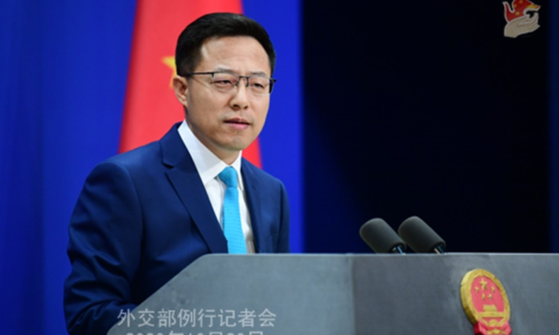 Chinese Foreign Ministry Spokesperson Zhao Lijian speaks during a regular press briefing. — Photo courtesy Ministry of Foreign Affairs of the People's Republic of China