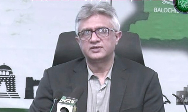 SAPM Dr Faisal Sultan addresses a press conference. — DawnNewsTV