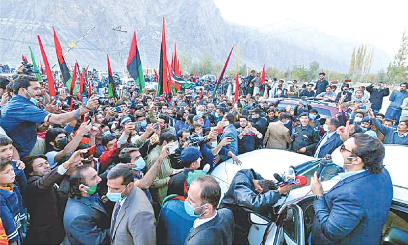 PPP chairman Bilawal Bhutto Zardari addresses party supporters in Skardu on Wednesday.—INP