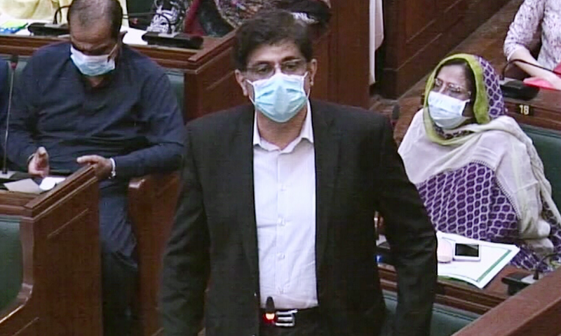 Chief Minister Murad Ali Shah speaks during the Sindh Assembly session on Wednesday. — DawnNewsTV