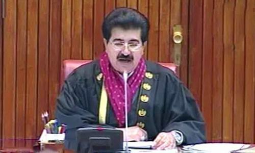 Senate Chairperson Sadiq Sanjrani chairs a Senate session. — DawnNewsTV/File