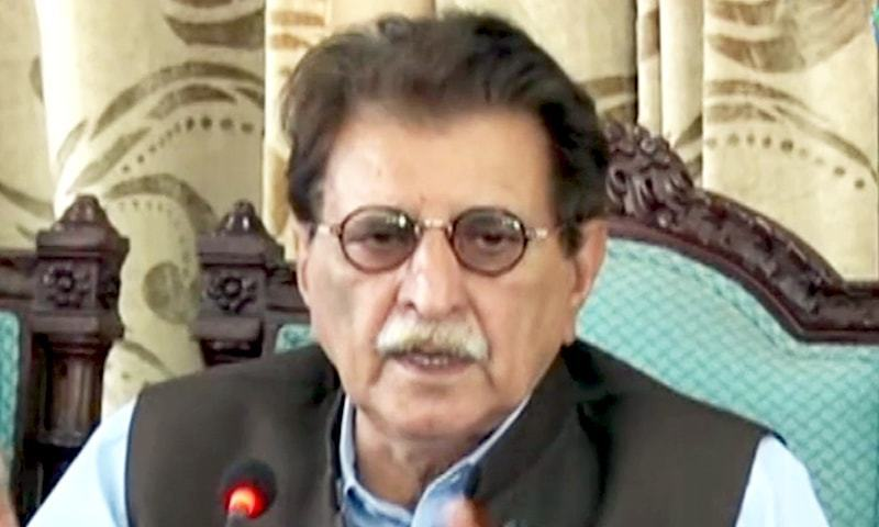 In this file photo, Azad Jammu and Kashmir Prime Minister Raja Farooq Haider addresses a press conference in Islamabad. — DawnNewsTV screengrab/File