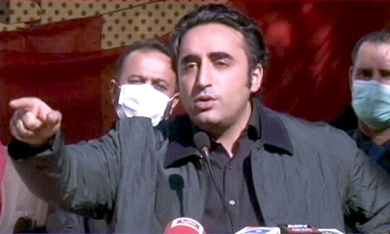 PPP Chairman Bilawal Bhutto-Zardari addresses party workers in Saksa area of Ganche district. — DawnNewsTV