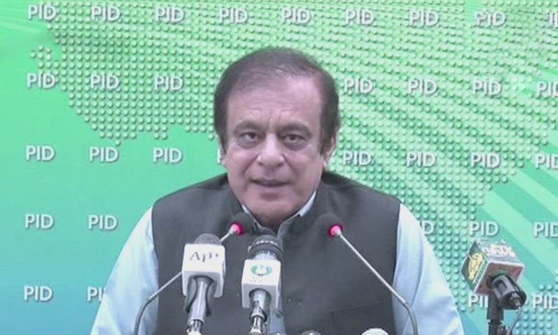 Information Minister Shibli Faraz addresses the media in Islamabad. — DawnNewsTV