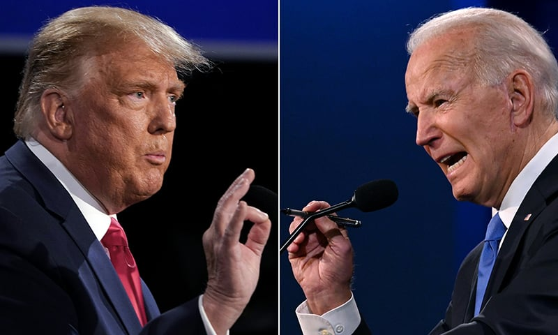 This combination of pictures created on October 22 shows US President Donald Trump (L) and Democratic Presidential candidate and former US Vice President Joe Biden during the final presidential debate at Belmont University in Nashville. — AFP