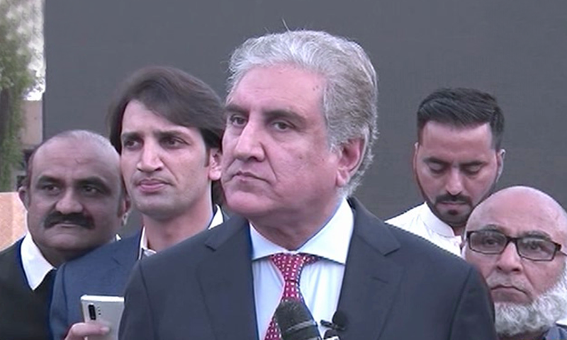 Foreign Minister Shah Mehmood Qureshi speaks to reporters in Islamabad on Friday. — DawnNewsTV