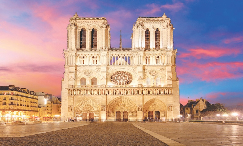 The western facade of the Notre Dame de Paris cathedral, with its 'twin tower flanking the rose window' design, is directly inspired from the East. The French landmark building is based on the 5th century basilica in the Syrian village of Qalb Lozeh