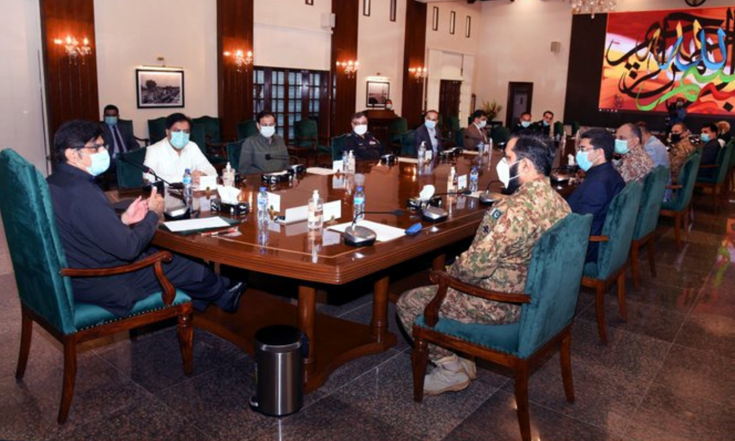 Sindh Chief Minister Murad Ali Shah presides over a high-level meeting on law and order at CM House on Saturday. — Photo courtesy CM House Twitter