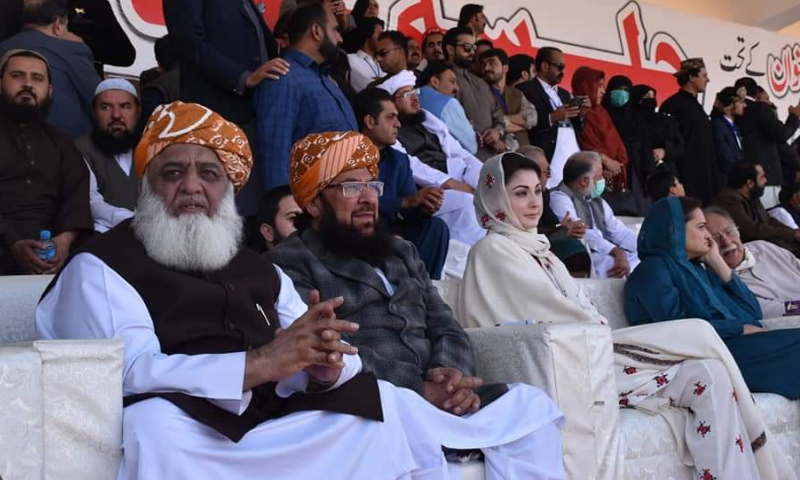 JUI-F Chief Maulana Fazlur Rehman, JUI-F Senator Abdul Ghafoor Haidery and PML-N Vice President Maryam Nawaz sit on the stage of the PDM rally in Quetta. — Photo courtesy Ikramullah Naseem's Twitter account