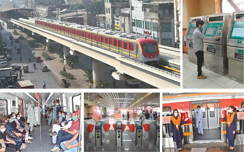 CLOCKWISE: The Orange Line Metro Train arrives at a station after its official opening in Lahore on Sunday. A man collects a token from an automatic ticket vending machine at a station. Staffers welcome passengers to the train. People wait for the train at a station. Passengers pictured on the train.—M Arif-White Star/AFP/APP