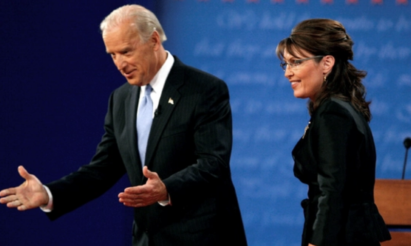 Joe Biden and Republican vice presidential nominee Sarah Palin onstage during the vice presidential debate on October 2, 2008. — Photo courtesy Reuters via National Post