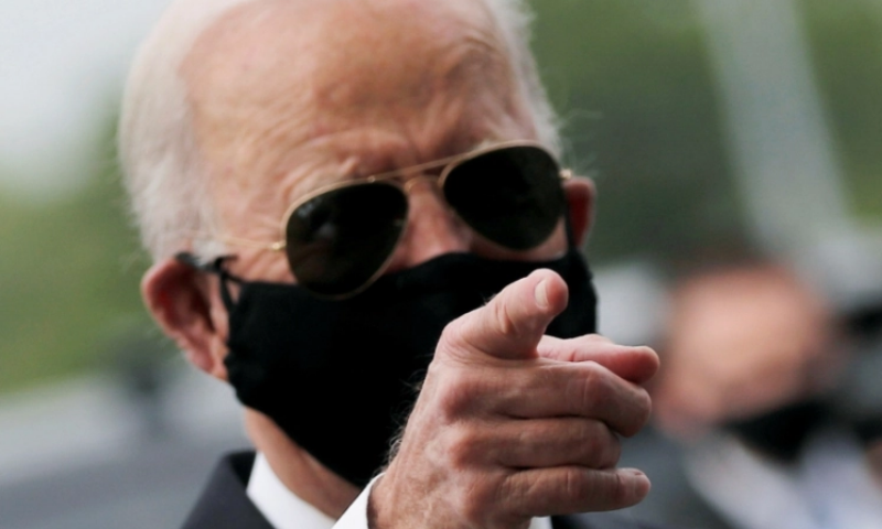 Democratic US presidential candidate and former Vice President Joe Biden is seen wearing a face mask amid the Covid-19 pandemic, in New Castle, Delaware, US on May 25, 2020. — Reuters via Al Jazeera