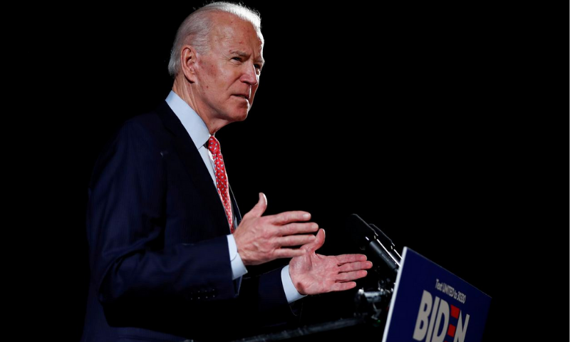 US Democratic presidential candidate Joe Biden speaks about responses to Covid-19 at an event in Wilmington, Delaware, US on March 12, 2020. — Reuters