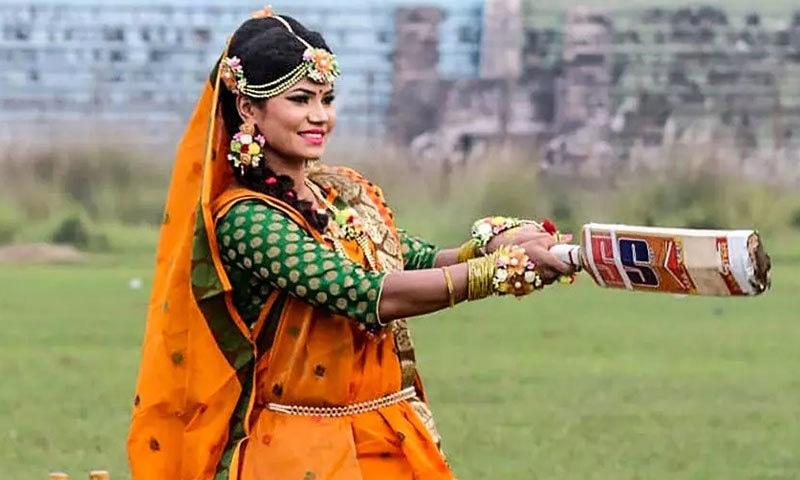 بیٹنگ کرتی بنگلہ دیشی کرکٹر کا برائیڈل فوٹو شوٹ وائرل