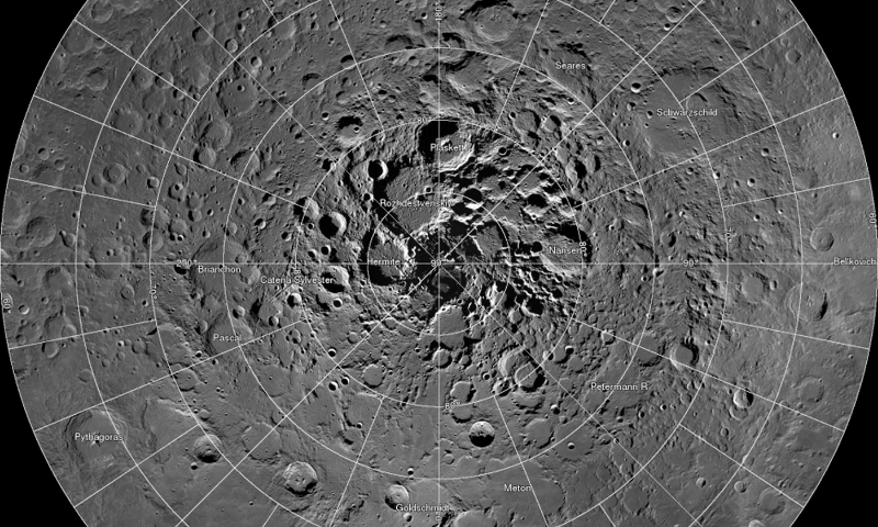 A high resolution mosaic of our moon's north polar region is seen in this undated handout image taken by scientists using cameras aboard NASA's Lunar Reconnaissance Orbiter (LRO). — Reuters
