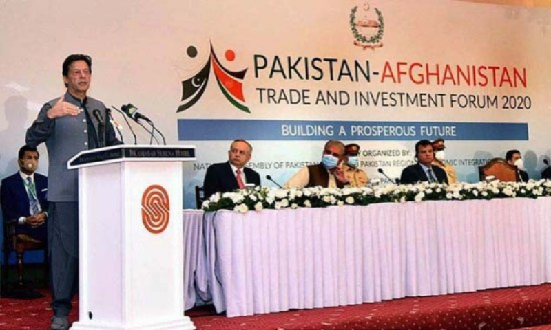 Prime Minister Imran Khan addresses a seminar titled 'Pakistan-Afghanistan Trade and Investment Forum' on Monday. — APP