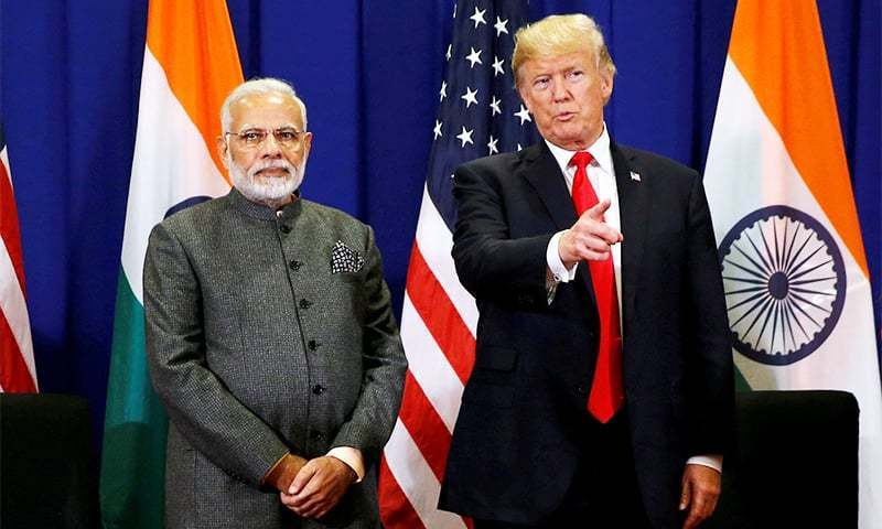This file photo shows US President Donald Trump (R) and Indian Prime Minister Narendra Modi. — Reuters/File