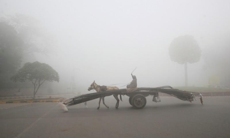 A man rides a donkey-drawn cart supplying steel rods on a smoggy morning in Lahore. — Reuters/File