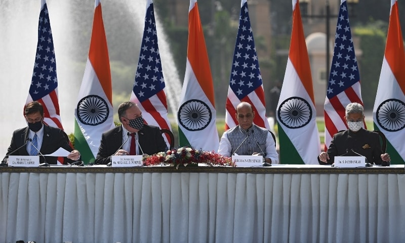 US Secretary of Defense Mark Esper, US Secretary of State Mike Pompeo, India's Defence Minister Rajnath Singh and India's Foreign Minister Subrahmanyam Jaishankar attend a joint press briefing on October 27. — AFP