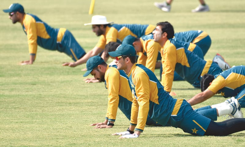 PAKISTAN fast bowler Shaheen Shah Afridi (front) and team-mates undergo physical exercises during a training session on Tuesday. —White Star