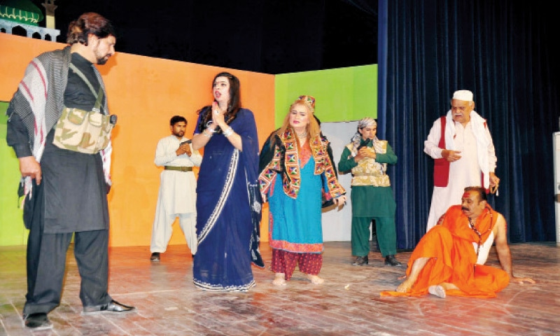 Artists perform in a play Jalti Wadi staged at the Rawalpindi Arts Council to highlight the struggle of Kashmiris in India-held Kashmir. — White Star