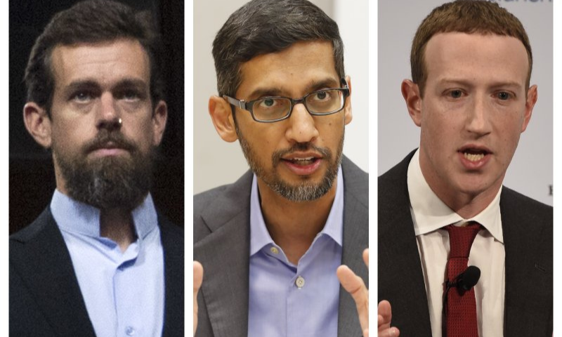 This combination of file photos shows, from left, Twitter CEO Jack Dorsey, Google CEO Sundar Pichai, and Facebook CEO Mark Zuckerberg. — AP