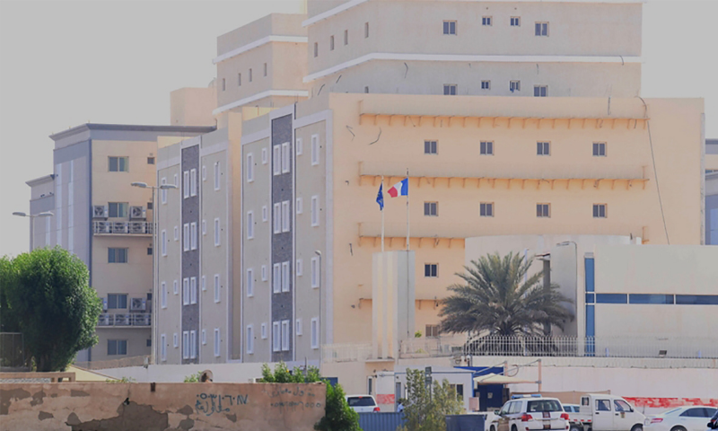 A picture taken from a distance shows the French consulate in the Saudi Red Sea port of Jeddah on October 29, 2020. — AFP