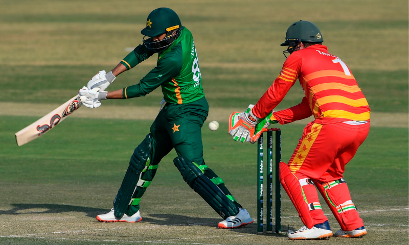 Zimbabwe's wicketkeeper Brendan Taylor (R) takes a catch to dismiss Pakistan's Haris Sohail (L) during the first ODI cricket match between Pakistan and Zimbabwe at the Rawalpindi Cricket Stadium in Rawalpindi on October 30, 2020. — AFP