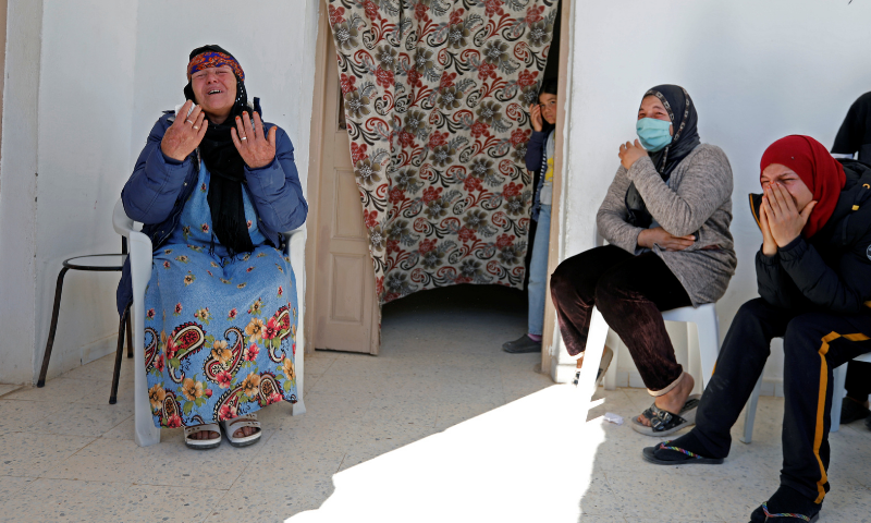 Gamra, the mother of Brahim Aouissaoui, who is suspected of carrying out Thursday's attack in Nice, France, reacts at her home in Thina, a suburb of Sfax, Tunisia on October 30, 2020. — Reuters