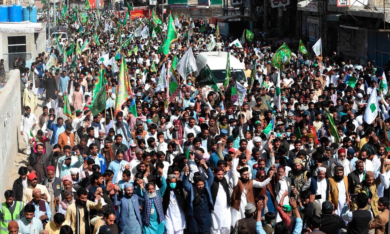 کوئٹہ میں بھی جلوس اور ریلیاں نکالی گئیں— فوٹو: اے ایف پی